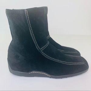 Aerosoles Black Suede Leather Square Toe Boots 9
